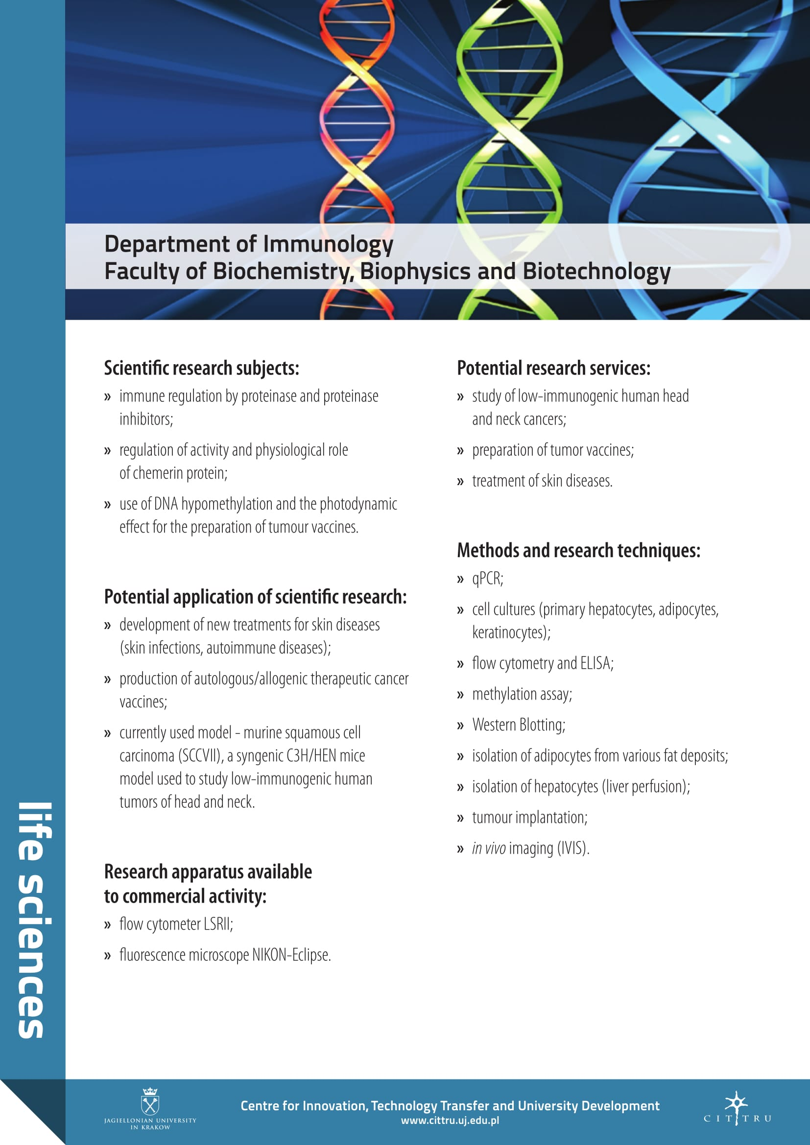 department of immunology faculty of biochemistry biophysics and